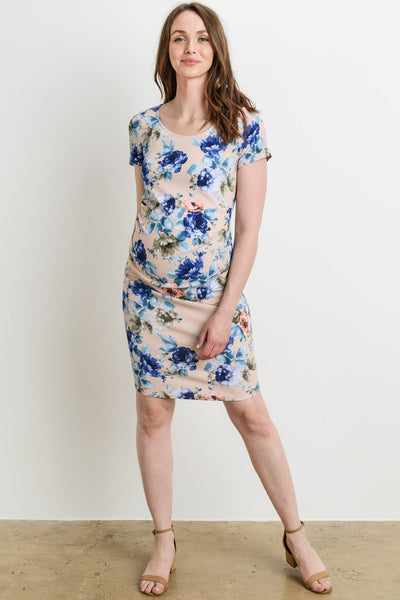 Floral Pleated Side Maternity Dress