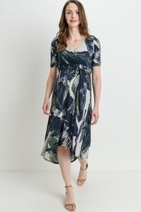 High-Low Front Tie Maternity & Nursing Dress