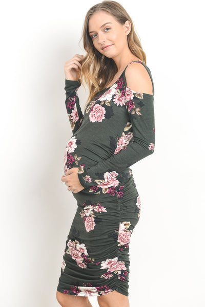 Open Shoulder Long Sleeve Maternity Dress