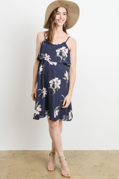Spaghetti Strap Ruffle Nursing Dress