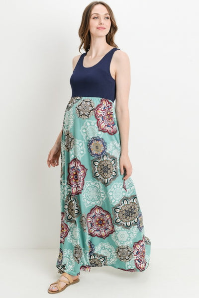 Mandala Tank Maxi Maternity Dress