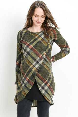 Long Sleeve Plaid Nursing Dress/Tunic