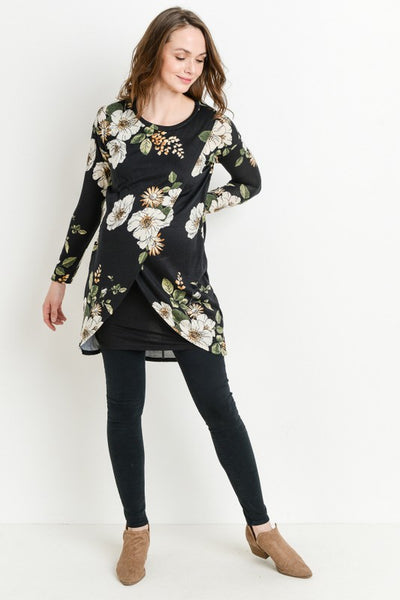 Long Sleeve Floral Nursing Dress/Tunic