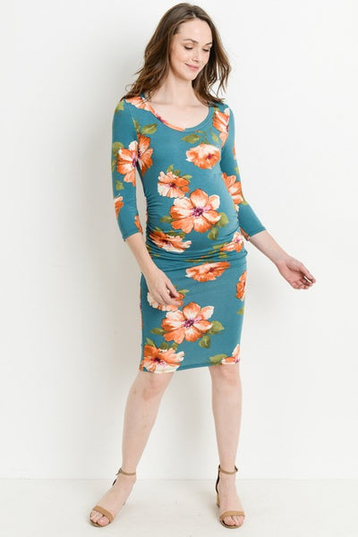 Long Sleeve Floral Maternity Dress