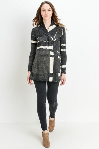 Geo Shawl-Collared Maternity Sweater