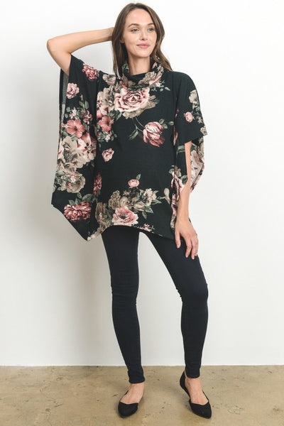 Floral Turtle Neck Poncho Sweater