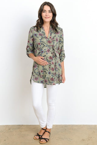 3/4 Sleeve Floral Maternity Tunic