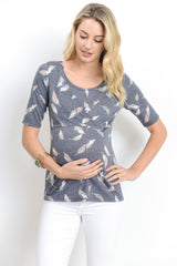 Scoop Neck Leaf Print Nursing Top