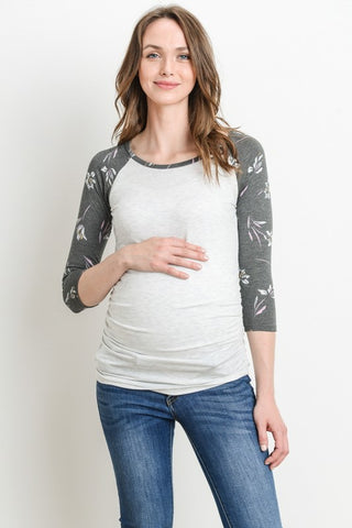 Solid Maternity Baseball Tee