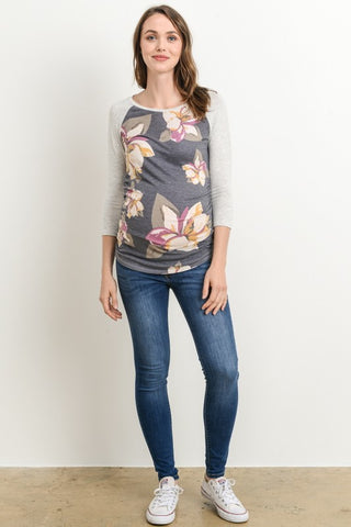 Muted Floral Maternity Baseball Tee