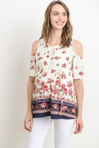 Open Shoulder Flouncy Maternity Top