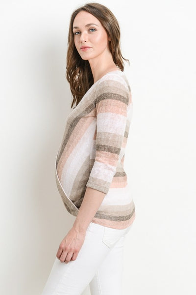 Stripe Surplice Nursing/Maternity Top