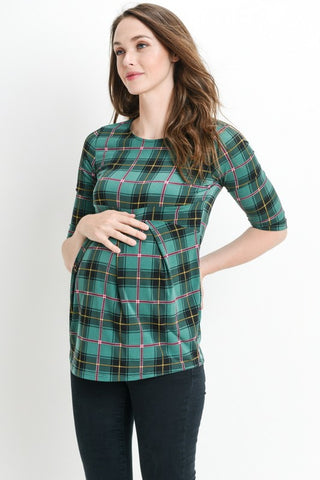 Front Pleat Plaid Maternity Top