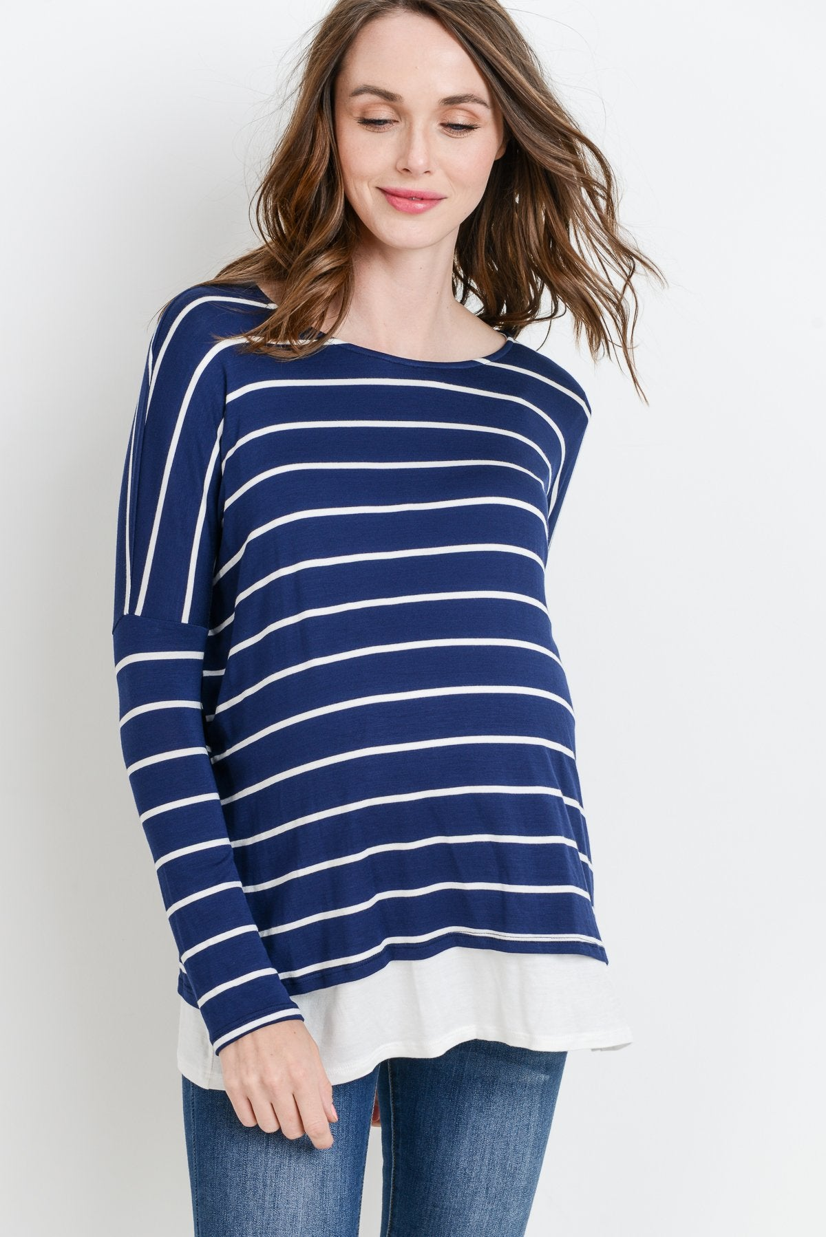 Striped Long Sleeve Maternity/Nursing Top