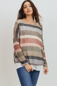 Long Sleeve Double Layer Nursing/Maternity Top
