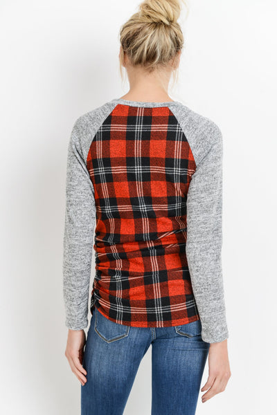 Plaid Baseball Maternity Top