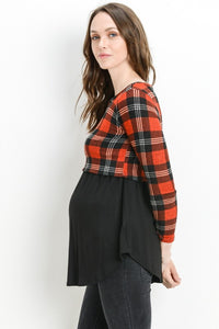 Plaid Maternity & Nursing Tunic
