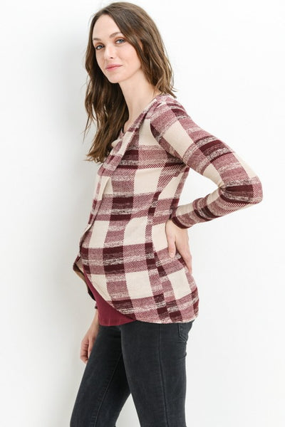 Long Sleeve Plaid Crossover Nursing Top - Burgundy