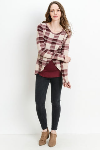 Long Sleeve Plaid Crossover Nursing Top