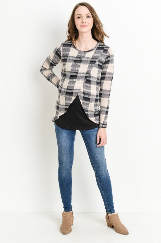 Long Sleeve Plaid Crossover Nursing Top - Navy