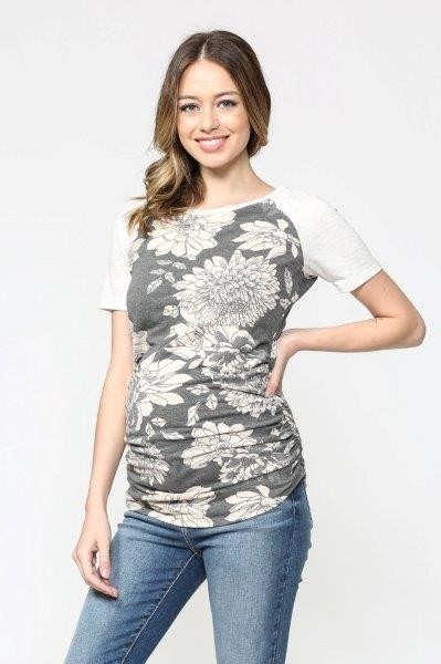 Floral Short Sleeved Maternity Baseball Tee