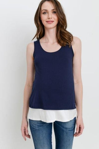 Sleeveless Color Block Maternity/Nursing Top