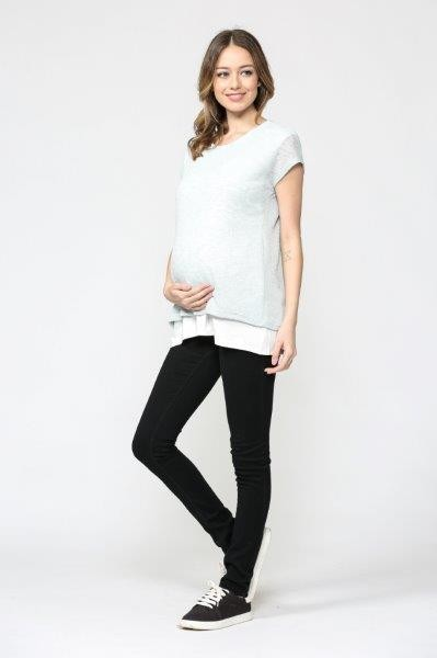 Short Sleeve Knit Color Block Maternity/Nursing Top
