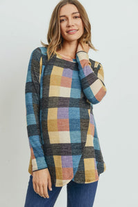 Multi Plaid Maternity/Nursing Tunic Top