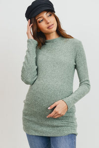 Mock Neck Maternity Ribbed Sweater