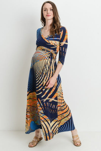 3/4 Sleeve Aztec Maxi Dress