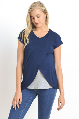 Short Sleeve Crossover Maternity/Nursing Top