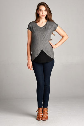 Short Sleeve Asymmetrical Wrap Nursing Top