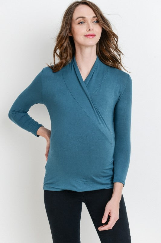 93bef06ba7a Long Sleeve Crossover Nursing/Maternity Top – For All of Maternity LLC