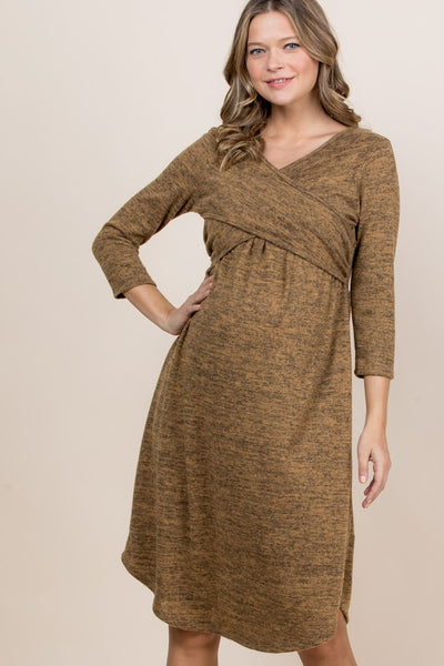 Crisscross V-Neck Maternity/Nursing Dress