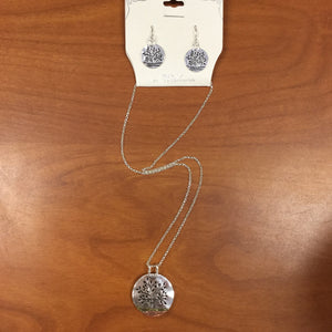 Circle Plate Tree of Life Necklace/Earring Set