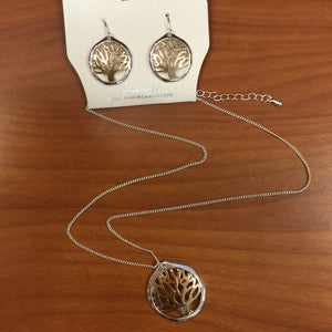 Circle Cutout Tree of Life Necklace/Earring Set