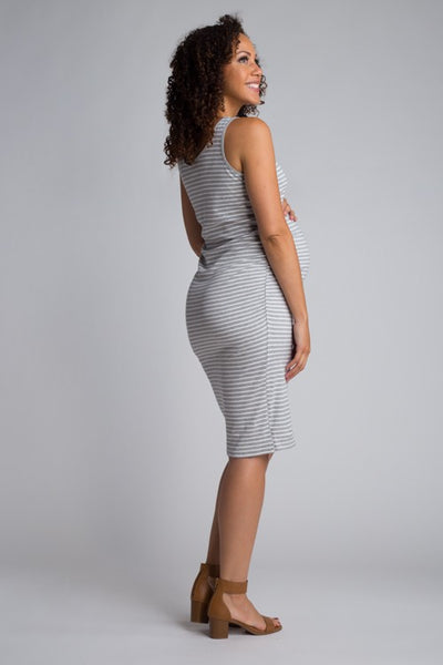 Sleeveless Crew Neck Maternity Dress