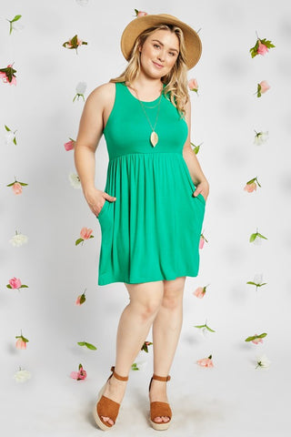 Sleeveless Empire Waist Maternity Dress - Plus Sizes