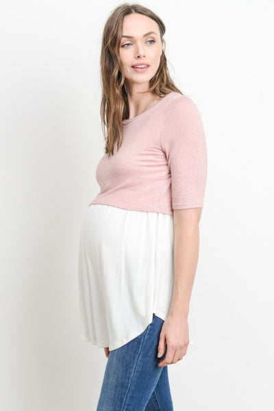 Solid Color Block Maternity & Nursing Tunic