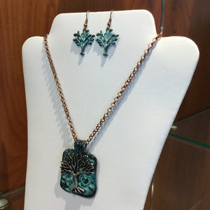 Square Tree of Life Necklace/Earring Sets