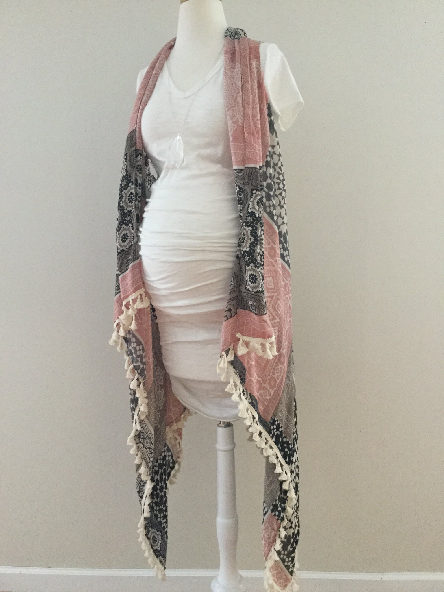Sleeveless Patchwork Shawl with Tassels