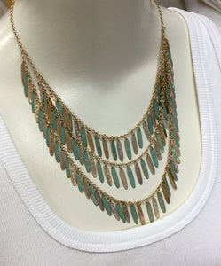 Gold & Turquoise Multi Dangle Necklace/Earring Set
