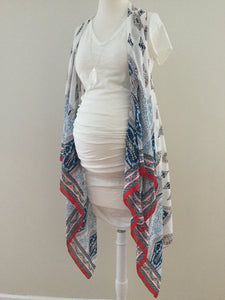 Sleeveless Convertible Shawl - Ethnic Print