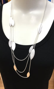 Triple Strand Silver Marquise Necklace/Earring Set