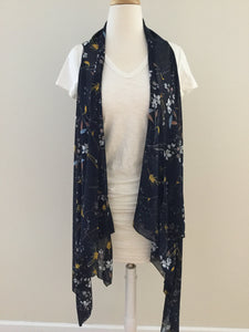Sleeveless Convertible Shawl with Wildflowers