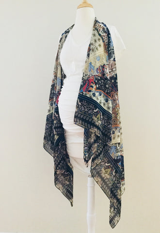 Sleeveless Convertible Shawl with Summer Paisley