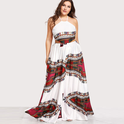 Plus-Size Tribal Backless Maxi Dress