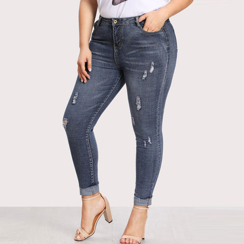 Plus-Size Distressed Jeans