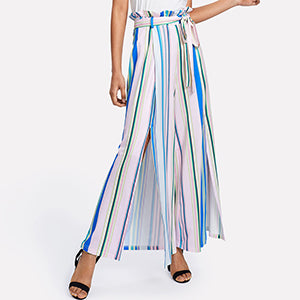 Multicolor High Waist Ruffle Trousers