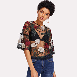Embroidered Multicolor Half Sleeve Sheer Blouse